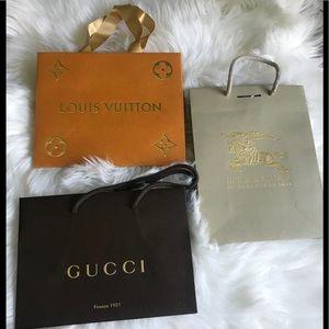 Bundle of 3 designer shopping bags